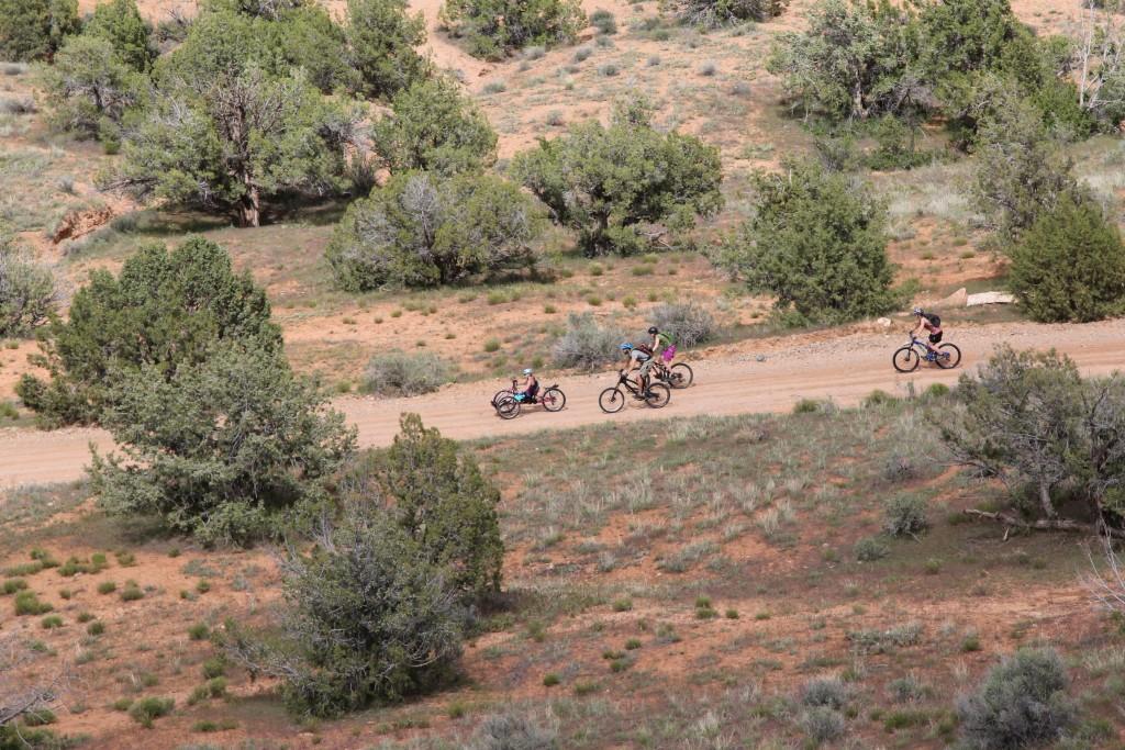 Danielle off road biking with friends in the Utah desert.